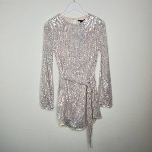Forever 21 Silver Sequin Belted LS Mini Dress